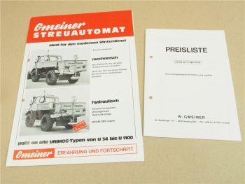 Prospekt Gmeiner Streuautomat für Unimog von 1978 und Preisliste gültig ab 4/78