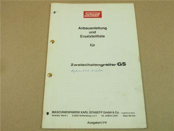 Schaeff GS Zweischalengreifer HT21 HR26A HML30A HML40 Anbau Ersatzteilliste 1977