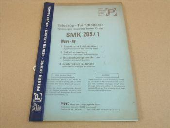 Peiner SMK 205/1 Turmdrehkran Betriebsanleitung Montage Wartung 1987