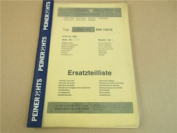 Peiner SMK 202 Turmdrehkran Ersatzteilliste Spare Parts catalogue 1994