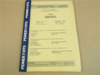 Peiner SMK 203/1 Turmdrehkran Ersatzteilliste Spare Parts catalogue 1995