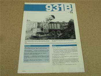 Prospekt CAT Caterpillar 931B Kettenlader 75 PS von 3/1986