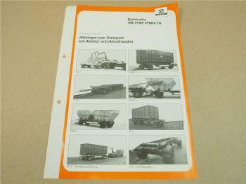 Prospekt Goldhofer TM TPM TPMR TR  Anhänger für Absetz- und Abrollmulden 1985