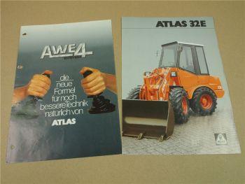 2 Prospekte Atlas 32E Radlader und AWE4 System 1986/94