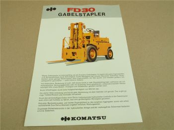 Prospekt Komatsu FD30 Gabelstapler mit technischen Daten