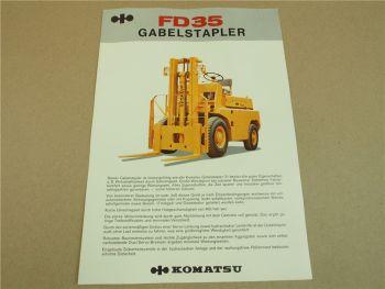 Prospekt Komatsu FD35 Gabelstapler mit technischen Daten