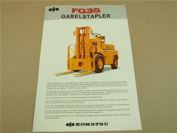 Prospekt Komatsu FG35 Gabelstapler mit technischen Daten