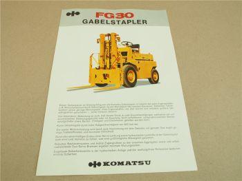 Prospekt Komatsu FG30 Gabelstapler mit technischen Daten