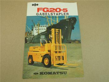 Prospekt Komatsu FG20-5 Gabelstapler mit technischen Daten