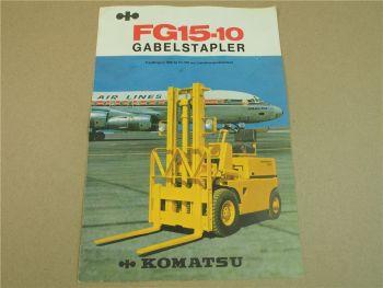 Prospekt Komatsu FG15-10 Gabelstapler 1500 kg mit technischen Daten