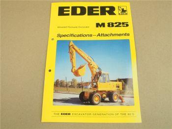 Prospekt Eder M825 Wheeled Hydraulic Excavator Specifications - Attachments 80s