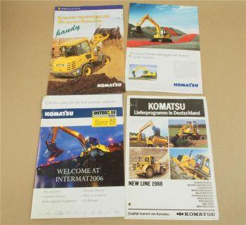 4 Prospekte Komatsu Radlader Bagger Lieferprogramm 80/90er Jahre