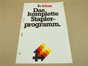 Prospekt Irion Staplerprogramm 5/1978 DFG TFG ESY EFY und Hubwagen