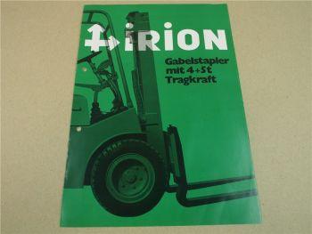 Prospekt Irion 40Se 50Se Gabelstapler mit 4 und 5t Tragkraft 4/1971