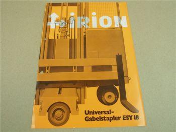 Prospekt Irion ESY18 Universal Gabelstapler 10/1970