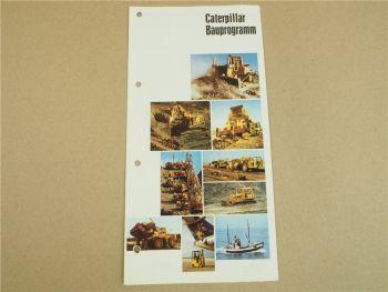 Prospekt Caterpillar Bauprogramm Bagger Raddozer Lader Motren Grader um 1980