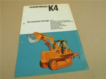 Prospekt Hanomag K4 K4L Planierraupe mit 34 PS 3-Zylinder Motor 4/1964