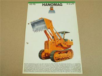 Prospekt Hanomag K5 LFF 45 PS Laderaupe 12/1962 technische Angaben