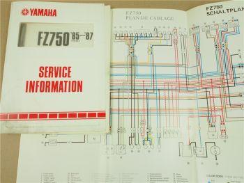 Yamaha FZ750 1FN 1985-1987 Service Information Inspektion Schaltplan