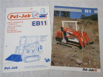 2 Prospekte Pel-Job EB11 Kompaktlader Raupenlader um 1988