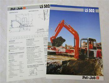 Prospekt und Datenblatt Pel-Job LS502 Kompaktbagger 1991