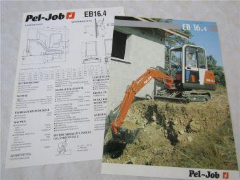Prospekt und technische Daten Pel-Job EB16.4 Kompaktbagger um 1994