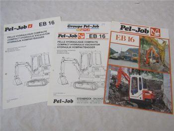 Prospekt und technische Daten Pel-Job EB16 Kompaktbagger um 1989
