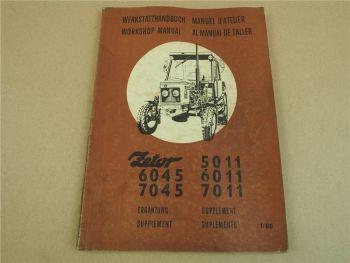 Zetor 5011 6045 6011 7011 7045 Ergänzung Werkstatthandbuch Reparaturanleitung