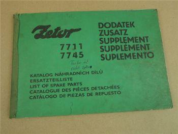 Zetor 7711 7745 Schlepper Nachtrag zur Ersatzteilliste 1985 Supplement Parts Lis