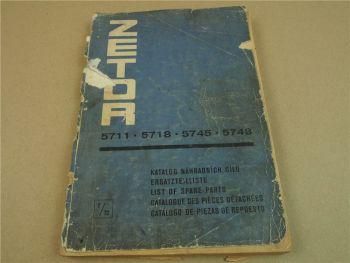 Zetor 5711 5718 5745 5748 Traktor Ersatzteilliste 1972 Parts List