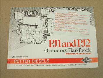 Petter Diesels PJ1 and PJ2 Operators Handbook Bedienungsanleitung Ersatzteillist