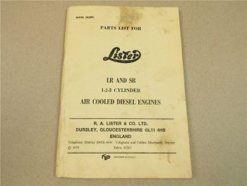 Lister LR and SR 1 2 3 Cylinder air cooled diesel engine Parts List 1975 Ersatzt