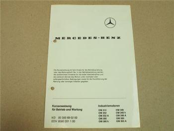 Mercedes Benz OM 314 352 360 346 355 h A Industriemotoren Kurzanleitung Bedienun