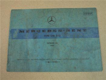 Mercedes Benz Motor OM352 Bildkatalog Ersatzteilkatalog Parts List 1964