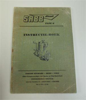 SABB diesel Type G Instructie Boek GL GG GGL GK GS Dieselmotor Boot 1962