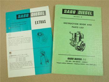SABB diesel Type G Instruction Book Parts List GG GSP Diesel Engine Boat 1973