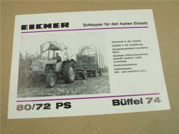 Prospekt Eicher Büffel 74 mit 80/72 PS Schlepper 1974