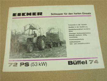 Prospekt Eicher Büffel 74 mit 72 PS Schlepper 1974