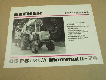 Prospekt Eicher Mammut II-74 mit 65 PS Schlepper 1974