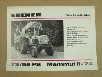 Prospekt Eicher Mammut II 74 mit 65 PS Typ 3453 von 1973