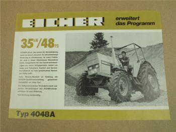 Prospekt Eicher 4048A Schlepper mit 48 PS