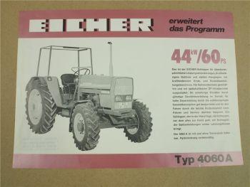 Prospekt Eicher 4060A Schlepper mit 60 PS