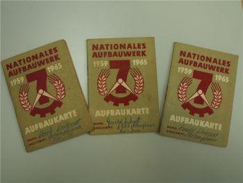 3x Nationales Aufbauwerk Aufbauksarte DDR Stundennachweis
