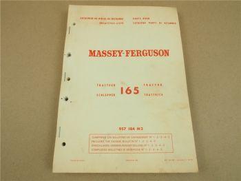 Massey Ferguson MF 165 Traktor Ersatzteilliste Ersatzteilkatalog Parts List 1974
