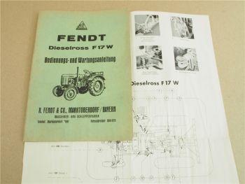 Fendt F17W Dieselross Bedienunganleitung Wartung 1957