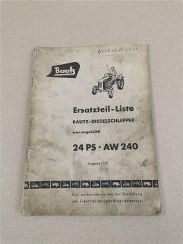 Ersatzteilkatalog Bautz AW240 Schlepper 24 PS Ersatzteilliste 1958