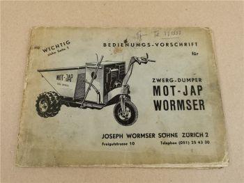 MOT JAP WORMSER Dumper Betriebsanleitung Bedienungsvorschrift
