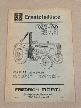 Mörtl Seitenmähwerk FOZ/2-Y4D Ersatzteilliste für Fiat Schlepper 315 und DT 1970