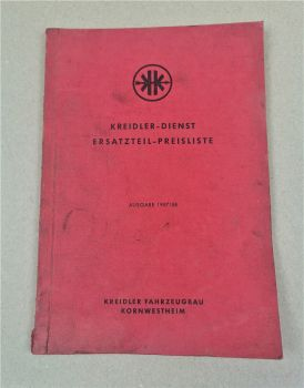 Kreidler Dienst Fahrzeuge Ersatzteilpreisliste Ausgabe 1957/58
