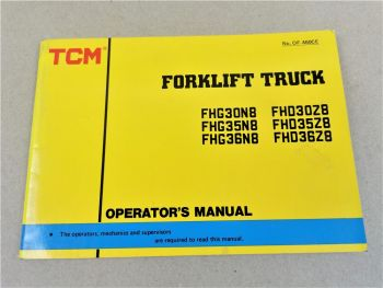 TCM FHG FHD 30 35 36 N8 Z8 Forklift Truck Operations Manual Bedienung in engl